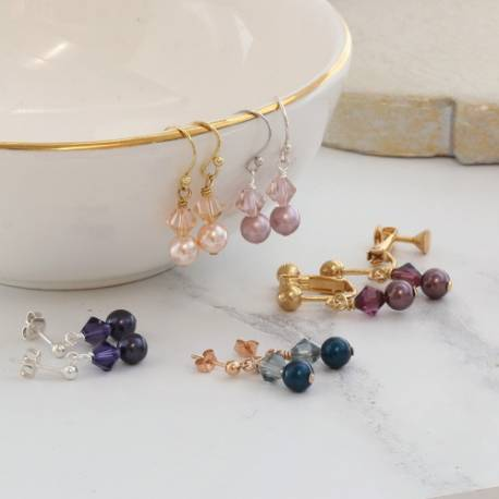 imogen affordable delicate swarovski pearl and crystal drop earrings