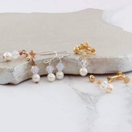 imogen pearl and crystal drop wedding earrings on studs, fish hooks or clipon, affordable jewellery for a bride