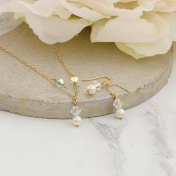 imogen delicate ivory pearl and crystal wedding necklace with back attachment on gold plate