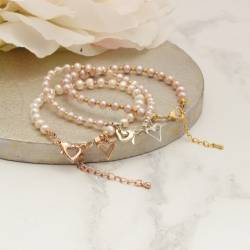 pearl friendship charm wedding bracelets in silver, rose gold or gold