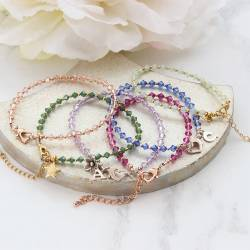 delicate swarovski crystal bracelets in many colours on silver, rose gold or gold