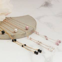 Imogen swarovski pearl and crystal fine chain lariat in silver, rosegold or gold