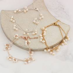 layered 2 strand delicate chain and pearl wedding bracelets in silver, rose gold or gold