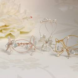 mermaid dainty white pearl and gemstone twisted wire cuff bracelets in silver, rose gold or gold