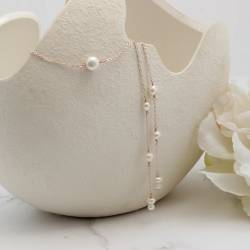 white pearl and chain wedding back lariats on silver, rose gold or gold