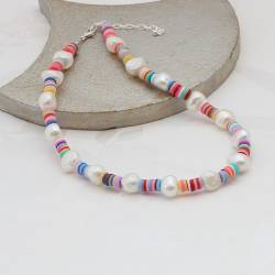 Colourful rainbow and pearl beaded necklace