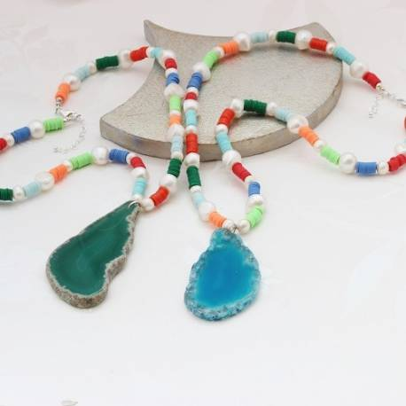 Long Colourful Beaded Necklace with Agate Slice