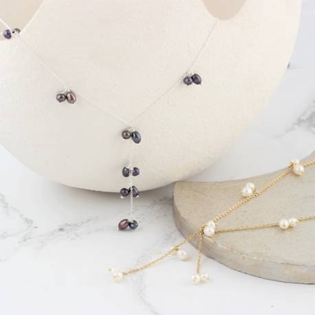 y chain and white or peacock black pearl drop necklace in silver, rose gold or gold