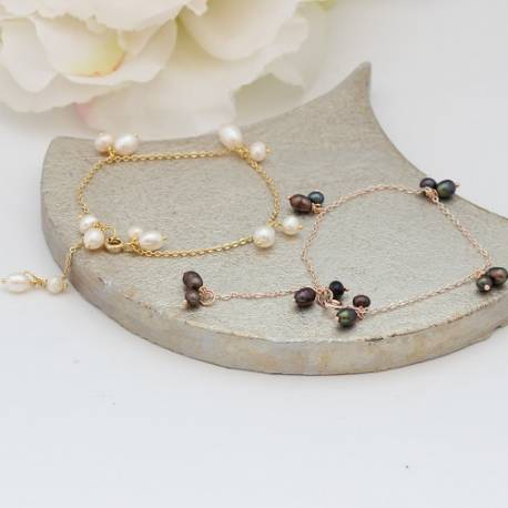delicate single strand chain and white or black pearl bracelets on silver, rose gold or gold