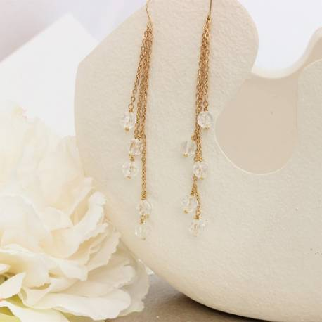 crystal melon ball on gold chain drop earring