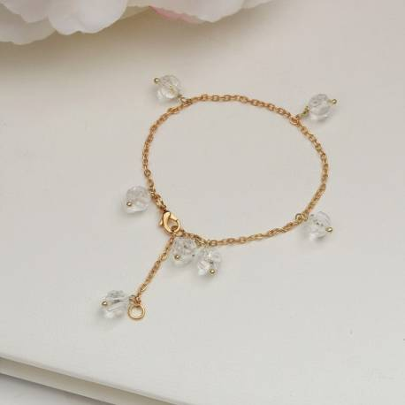 melon ball crystal gemstone beads on gold plated chain bracelet