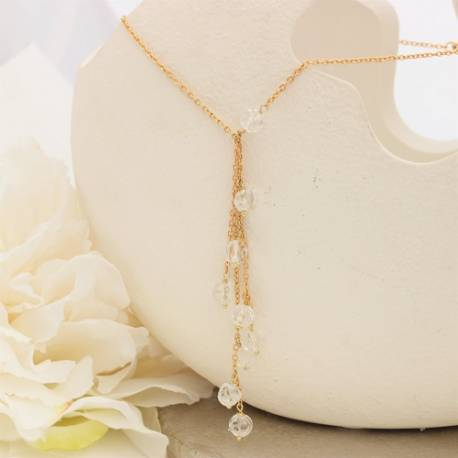 melon ball crystal gemstone beads on gold plated chain y drop necklace
