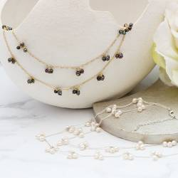 orion layered double necklace in silver or gold chain with black or white pearls, optional back drop attachment