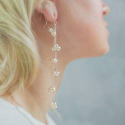 orion chain long drop earrings in silver, rose gold or gold with black or white pearls