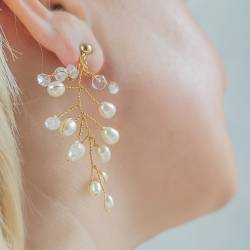 gold twisted wire pearl and moonstone leaf drop wedding earrings for a bride