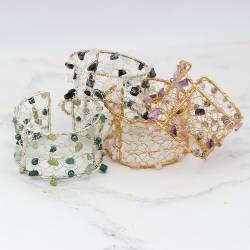 beaded Cuff on Frame Gold or silver Plate with pearls and gemstones