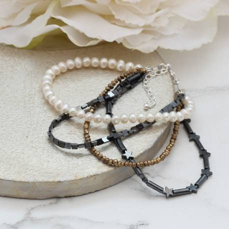 handmade pearl and hematite stack bracelet, personalised jewellery gift ideas for her