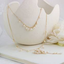 lyra gold 2 strand chain choker necklace with back drop with pearls and moonstone