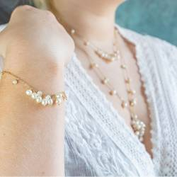 lyra delicate silver or gold plated fine chain bracelet with pearl, moonstone gemstone or crystals