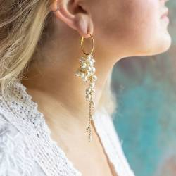 lyra silver or gold plated statement hoop earrings with extra long dangle of pearl, moonstone or crystal