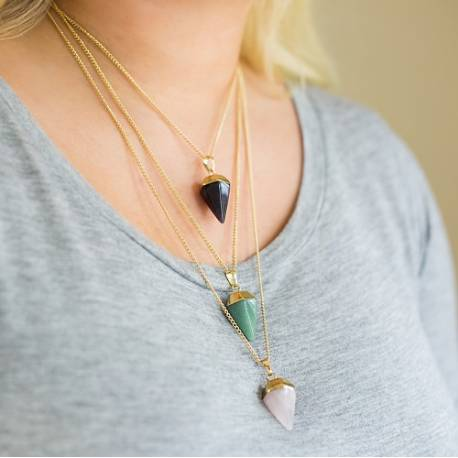Gemstone Point Pendant Necklaces