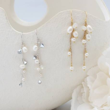 Lyra delicate silver or gold plate chain drop earrings with pearl, moonstone gemstone or crystal