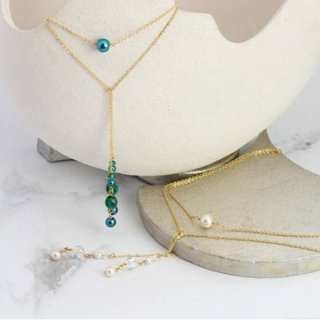cassio swarovski pearl and crystal lariat y necklaces on fine silver, gold or rose gold chain
