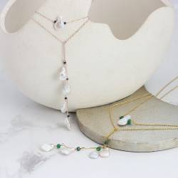 White Keshi Pearl and Gemstone Chain Lariat