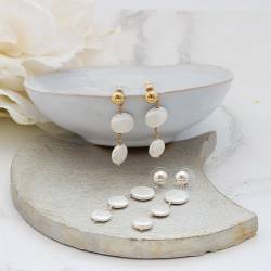 white coin pearl drop earrings on silver or gold studs