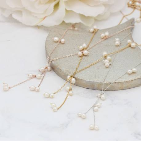 stella y chain and bridal white pearl drop wedding necklace on silver, rose gold or gold