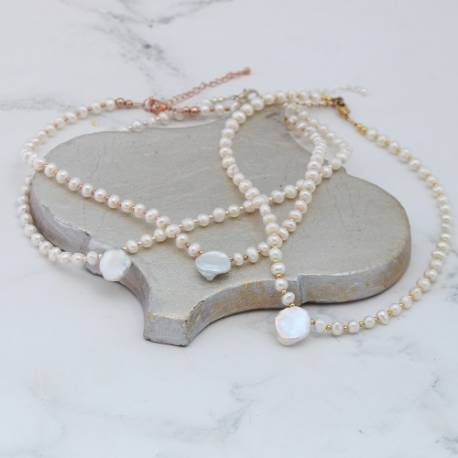 stella delicate modern bridal white pearl wedding choker necklace in silver, rose gold or gold with centre focal keshi pearl