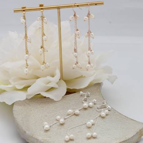 stella delicate chain and white pearl drop wedding earrings on silver, rose gold or gold