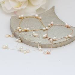 stella delicate single strand chain and bridal white pearl wedding bracelets on silver, rose gold or gold