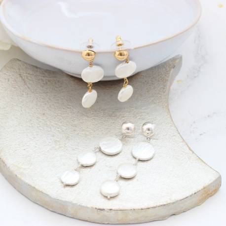 Modern White Coin Pearl Drop Wedding Earrings