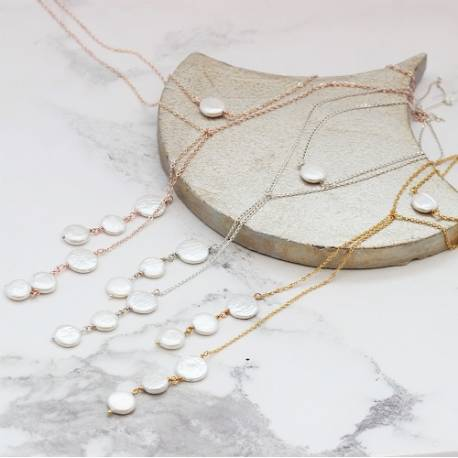 white coin pearl y back drop lariat wedding necklace on silver, rosegold or gold chain for a bride on her wedding day