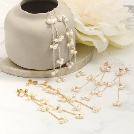orion delicate chain and long bridal white pearl drop wedding earrings in silver, gold or rose gold