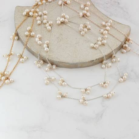 orion layered 2 strand delicate chain wedding necklace with bridal white pearls and back drop attachment in sterling silver
