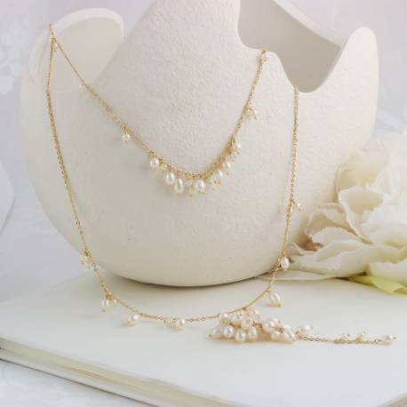 lyra gold 2 strand chain wedding necklace with back drop with bridal white pearls and moonstone
