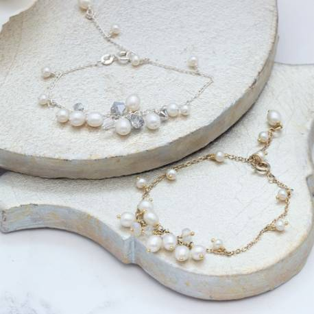lyra delicate silver or gold plated fine chain wedding bracelet for a bride with bridal white pearl, gemstone or crystals