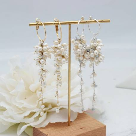 lyra silver or gold plated statement hoop wedding earrings for bride extra long dangle bridal white pearl, moonstone or crystal