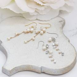 Lyra delicate silver or gold plate chain drop wedding earrings with bridal white pearl, moonstone gemstone or crystal