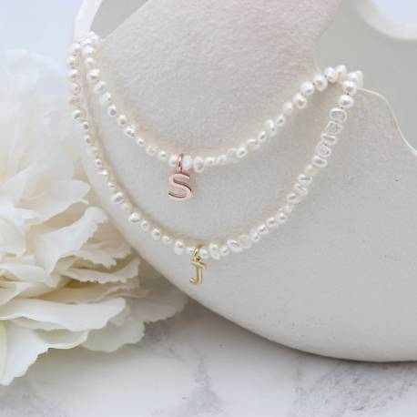 white pearl choker necklace with rose gold or gold initial charm, personalised jewellery gift for her