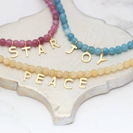 gemstone beaded necklaces personalised with a special word