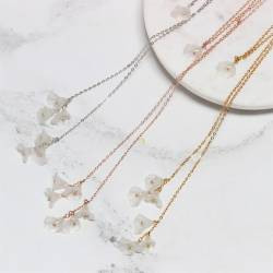 lily flower and pearl on chain bridal lariat necklace in gold silver or rose gold for a bride on her wedding day