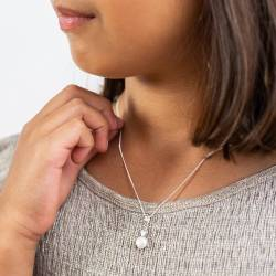 childs mini pearl pendant in white, pink or peacock with silver, rose gold or gold heart