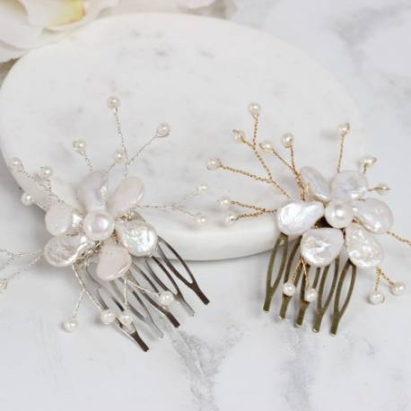 keshi white flower pearl on silver or gold mini hair comb for a bride or bridesmaids on her wedding day