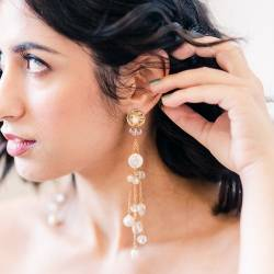 gold stud with long pearl and crystal drop wedding earrings for a bride