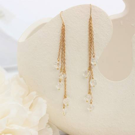 crystal melon ball on gold chain drop bridal earrings for a bride on her wedding day