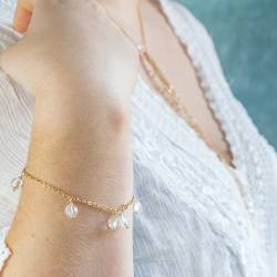 crystal gemstone beads on gold plated chain bridal bracelet for a bride on her wedding day