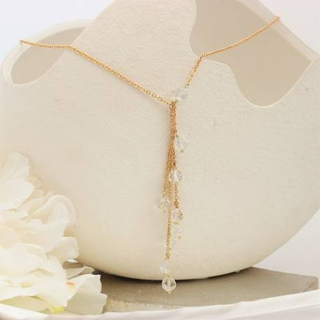 crystal melon ball on gold chain y bridal necklace with optional back drop for a bride on her wedding day